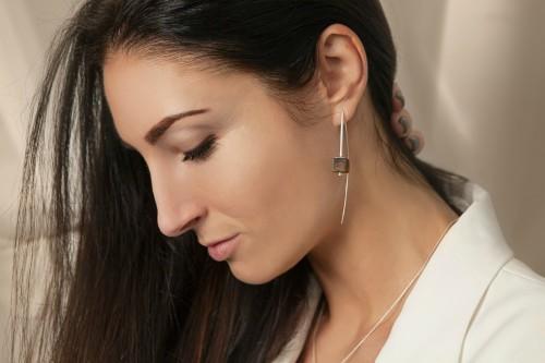 "Ketri Amber Jewelry auskarai ""Touch of modern"" No6"