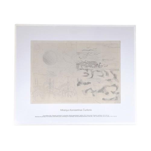 """M. K. Čiurlionis. 13 paveikslų ciklo """"Pasaulio sutvėrimas"""" ir paveikslo """"Saulės pagarbinimas"""" eskizai"""