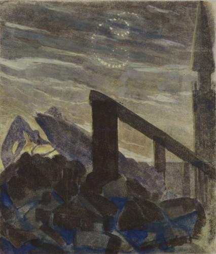 """M. K. Čiurlionis. Saulė eina Vėžio ženklu. VI iš 12 paveikslų ciklo """"Zodiakas"""""""