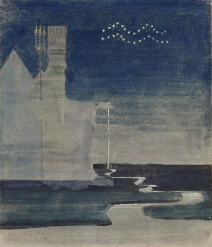 """M. K. Čiurlionis. Saulė eina Vandenio ženklu. I iš 12 paveikslų ciklo """"Zodiakas"""""""