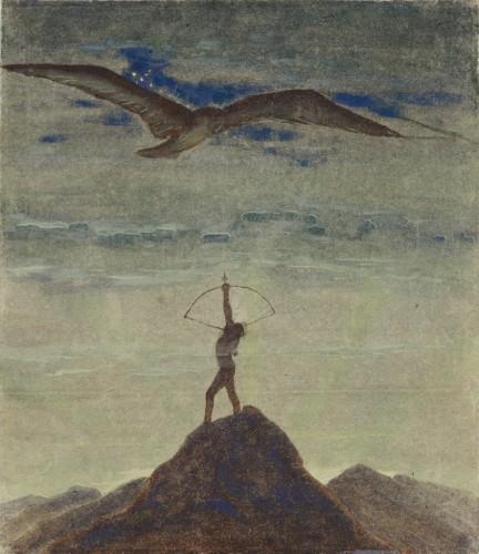 """M. K. Čiurlionis. Saulė eina Šaulio ženklu. XI iš 12 paveikslų ciklo """"Zodiakas"""""""